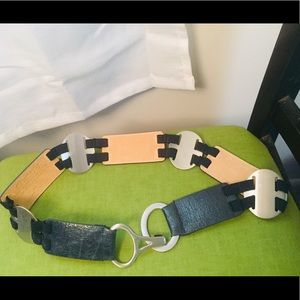 Chicos Navy Blue and Silver clasp waist belt S/M